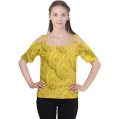 Summer Yellow Roses Dancing In The Season Cutout Shoulder Tee