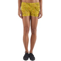 Summer Yellow Roses Dancing In The Season Yoga Shorts