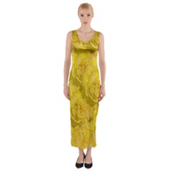 Summer Yellow Roses Dancing In The Season Fitted Maxi Dress