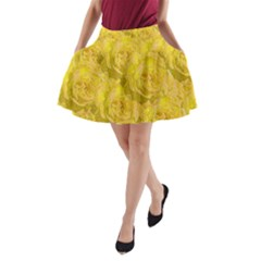 Summer Yellow Roses Dancing In The Season A Line Pocket Skirt