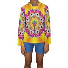 Fantasy Flower In Tones Kids  Long Sleeve Swimwear
