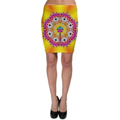 Fantasy Flower In Tones Bodycon Skirt