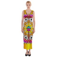 Fantasy Flower In Tones Fitted Maxi Dress