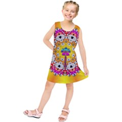 Fantasy Flower In Tones Kids  Tunic Dress