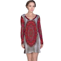 Strawberry  With Waffles And Fantasy Flowers In Harmony Long Sleeve Nightdress