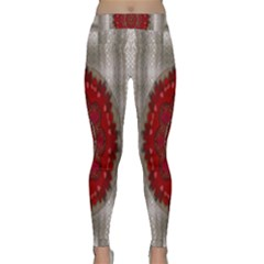 Strawberry  With Waffles And Fantasy Flowers In Harmony Classic Yoga Leggings