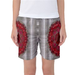 Strawberry  With Waffles And Fantasy Flowers In Harmony Women s Basketball Shorts