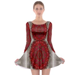Strawberry  With Waffles And Fantasy Flowers In Harmony Long Sleeve Skater Dress