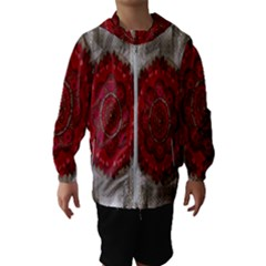 Strawberry  With Waffles And Fantasy Flowers In Harmony Hooded Wind Breaker (kids)