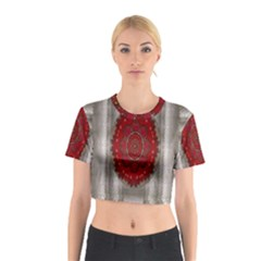 Strawberry  With Waffles And Fantasy Flowers In Harmony Cotton Crop Top