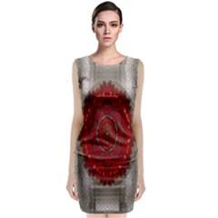 Strawberry  With Waffles And Fantasy Flowers In Harmony Classic Sleeveless Midi Dress