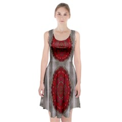 Strawberry  With Waffles And Fantasy Flowers In Harmony Racerback Midi Dress