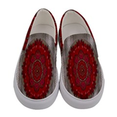 Strawberry  With Waffles And Fantasy Flowers In Harmony Women s Canvas Slip Ons