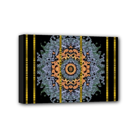 Blue Bloom Golden And Metal Mini Canvas 6  X 4