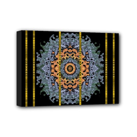 Blue Bloom Golden And Metal Mini Canvas 7  X 5