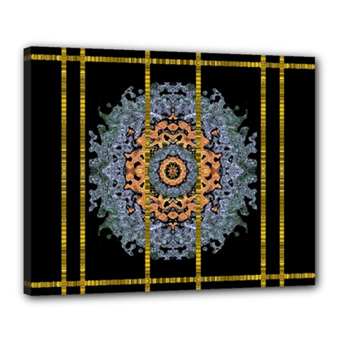 Blue Bloom Golden And Metal Canvas 20  X 16
