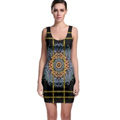 Blue Bloom Golden And Metal Bodycon Dress