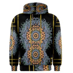Blue Bloom Golden And Metal Men s Pullover Hoodie