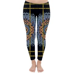 Blue Bloom Golden And Metal Classic Winter Leggings