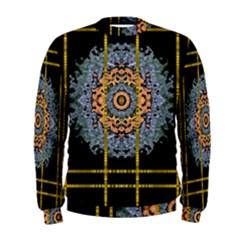 Blue Bloom Golden And Metal Men s Sweatshirt
