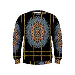 Blue Bloom Golden And Metal Kids  Sweatshirt