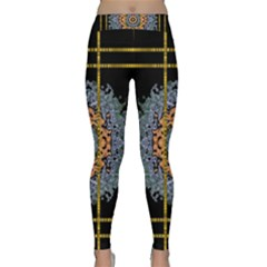 Blue Bloom Golden And Metal Classic Yoga Leggings