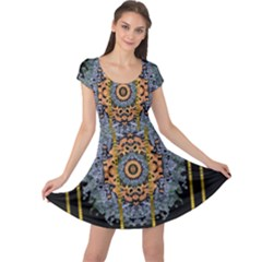 Blue Bloom Golden And Metal Cap Sleeve Dress