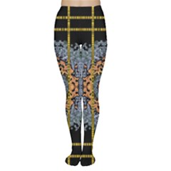 Blue Bloom Golden And Metal Women s Tights