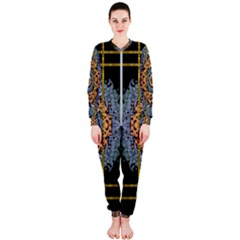 Blue Bloom Golden And Metal Onepiece Jumpsuit (ladies)