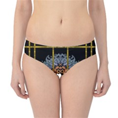 Blue Bloom Golden And Metal Hipster Bikini Bottoms
