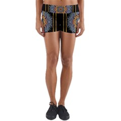 Blue Bloom Golden And Metal Yoga Shorts