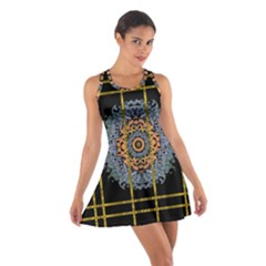 Blue Bloom Golden And Metal Cotton Racerback Dress