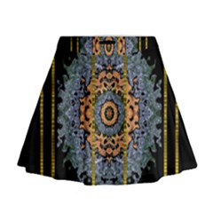 Blue Bloom Golden And Metal Mini Flare Skirt