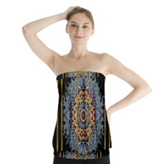 Blue Bloom Golden And Metal Strapless Top
