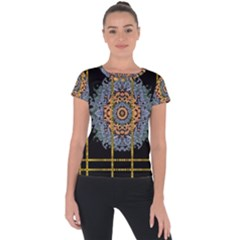 Blue Bloom Golden And Metal Short Sleeve Sports Top