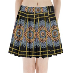 Blue Bloom Golden And Metal Pleated Mini Skirt