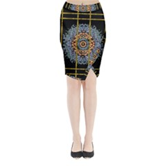 Blue Bloom Golden And Metal Midi Wrap Pencil Skirt