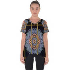 Blue Bloom Golden And Metal Cut Out Side Drop Tee