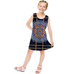 Blue Bloom Golden And Metal Kids  Tunic Dress