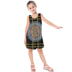 Blue Bloom Golden And Metal Kids  Sleeveless Dress