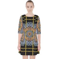 Blue Bloom Golden And Metal Pocket Dress