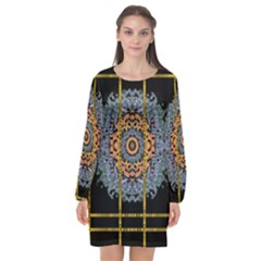 Blue Bloom Golden And Metal Long Sleeve Chiffon Shift Dress