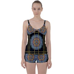 Blue Bloom Golden And Metal Tie Front Two Piece Tankini