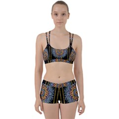 Blue Bloom Golden And Metal Women s Sports Set