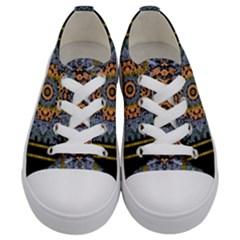 Blue Bloom Golden And Metal Kids  Low Top Canvas Sneakers