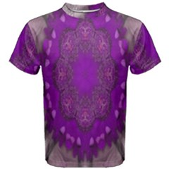 Fantasy Flowers In Harmony  In Lilac Men s Cotton Tee