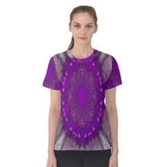 Fantasy Flowers In Harmony  In Lilac Women s Cotton Tee