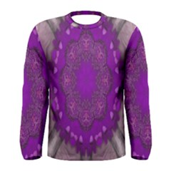 Fantasy Flowers In Harmony  In Lilac Men s Long Sleeve Tee