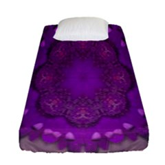 Fantasy Flowers In Harmony  In Lilac Fitted Sheet (single Size)