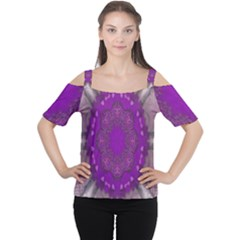Fantasy Flowers In Harmony  In Lilac Cutout Shoulder Tee